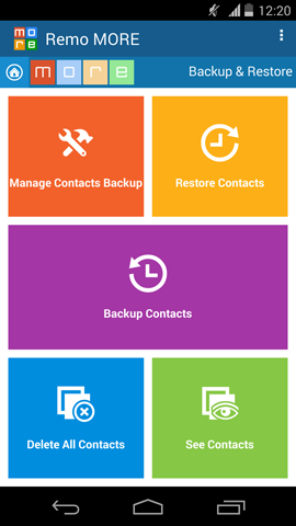 Delete Android Contacts - Contacts Main Screen