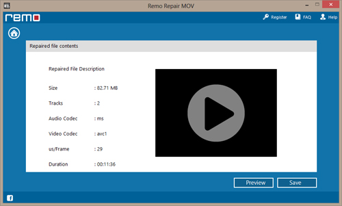 Repair Damaged Mov videos- Preview Screen