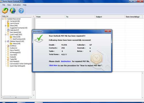 Fix Outlook 2013 PST - Preview Screen