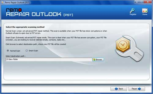 Fix Outlook 2013 PST - Select Scan Method Screen